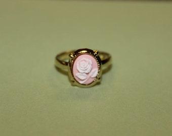 Tiny Light Pink Rose Gold Cameo Ring