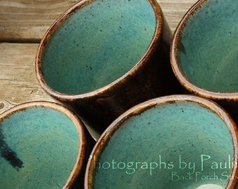 CLEARANCE SALE Brown & Turquoise Tumblers Glass Cup