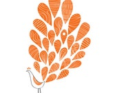 Peacock, Art Print, Orange, Bird Illustration, Animal Illustration, Modern Art, home decor, Drawing, Decorative Arts, Abstract print