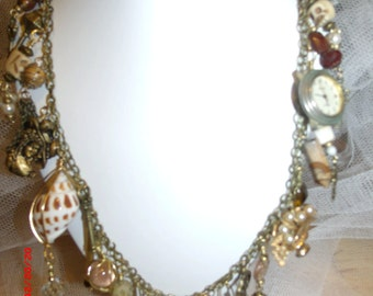 Victorian Romance Bronze and Amber Charm Necklace
