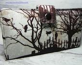 Handmade Wallet  BiFold Clutch - Vegan Wallet - Graveyard Silhouette