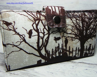 Handmade Wallet  BiFold Clutch - Vegan Wallet - Graveyard Silhouette or half size unisex wallet