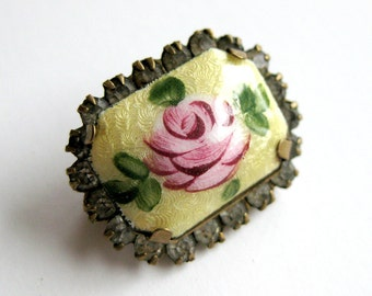 Vintage Hand Painted Pink Rose Guilloche Brooch Rimmed with Rhinestones