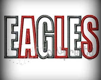 Eagles Word Embroidery Applique Design