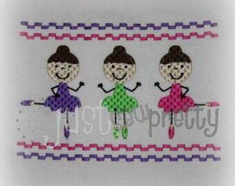 Ballerinas 5x7 Machine Smocked Embroidery Design