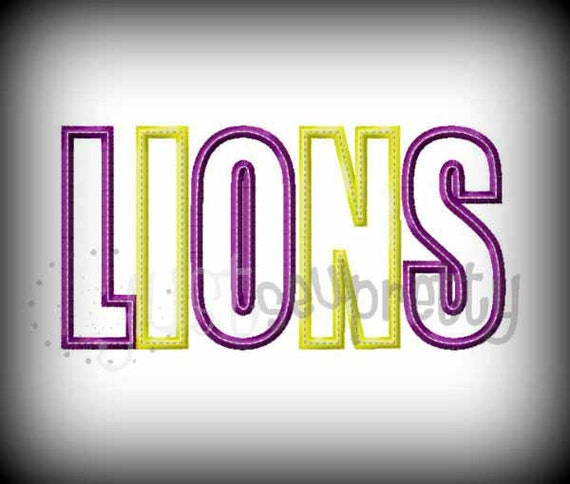 Lions word embroidery applique design