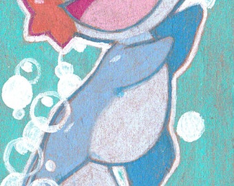 Mudkip original illustration colored pencil, bookmark, small artwork, pokemon, sapphire, emerald,art gift
