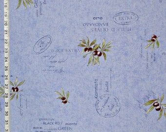 Blue Provence fabric olive interior home decorating material cotton by the yard 1 yd