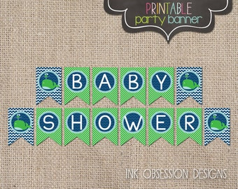 Printable Blue & Green Whale Baby Shower Banner PDF Nautical Bunting Design Chevron Stripes and Polka Dots Instant Download