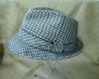 Vintage Stetson Fedora Hat Gray Wool Tweed Hat 1950s