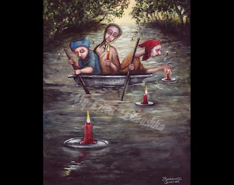 Search Party, Dredging the River, Looking for the Drowned, Three Men in a Tub, Nursery Rhyme, Folklore, Macabre Art, Original Painting