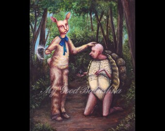 Forespoken, Original painting, Aesop's Fable, Tortoise and Hare, Oracle Bone, Divination, Plastromancy, Dark Forest, Fairy Tale, Folk Tale