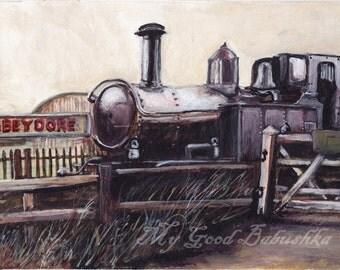 Abbeydore Railroad, Old Train, Train Station, Golden Valley Railway, English History, Original Painting, Travel, Victorian Era, Engine