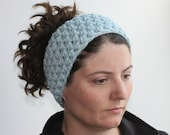 Earwarmer, Headband, Headwrap, Womens Crochet Headband, Mens Earwarmer, Crochet Earwarmer, Winter Accessory, Glacier