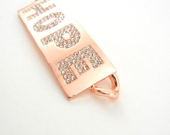 Large Double Link Rhinestone Bright Copper-tone Hope Pendant