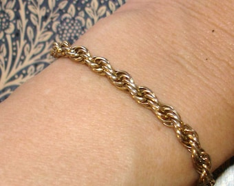vintage woven gold links cable bracelet