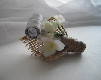 As seen at Martha Stewart Wedding Party Rusic Burlap Wedding Boutonniere Groom Metallic Party Blower Handmade Ready To Ship by handcraftusa