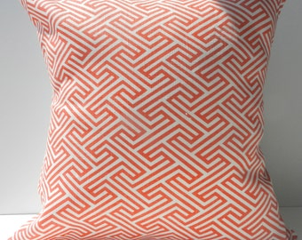 New 18x18 inch Designer Handmade Pillow Cases. Coral-orange on white.