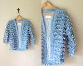 Vintage COUNTRY STYLE Jean Jacket • Handmade Fringe Denim Coat • Cropped Boxy Cut Outerwear • Unique One of a Kind Top • Women Small Medium
