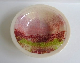 Large Fused Glass Bowl in Cream, Coral, Green and Red