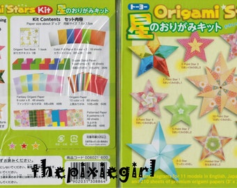 JAPANESE ORIGAMI PAPER 11 Different Star Patterns 5,6,10 Point Stars Prints Foils Harmony English Instructions 210 Sheets