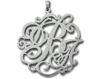 Lace Monogram Necklace - Sterling Silver - choose from 4 styles