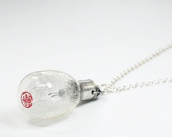 Photography Jewelry- Upcycled Clear Camera Flash Bulb Necklace, Light Bulb Necklace, Gift for Photographer, Lightbulb Contemporary Jewelry