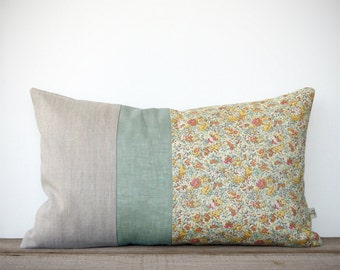Pastel Floral Print Decorative Pillow Cover - Spring Home Decor by JillianReneDecor | Liberty Print | Shabby Chic | Nursery | Pastel Yellow