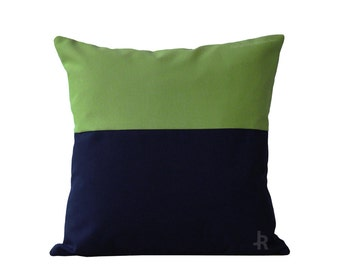 OUTDOOR Colorblock Pillow Cover - Green and Navy by JillianReneDecor Modern Home Decor - Two Tone - Summer Patio Decor - Cilantro - Lime