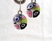 Earrings Jewelry Dangle Millefiori Fused Glass Minnesota Handmade Artisan Handcrafted Jewelry FAIRly Excellent