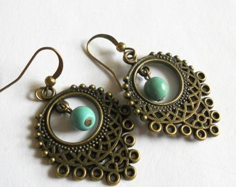 Brass earrings, turquoise earrings, rustic earrings, bohemian earrings, ethnic jewelry, bohemian gypsy jewelry