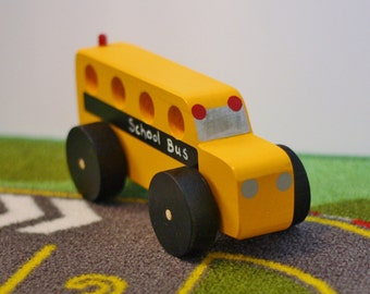 Toy Yellow School Bus - Handcrafted Wooden Yellow School Bus Toy