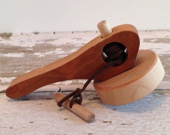 Toy Natural Wooden Spinning Top with Cherry Wood Handle - Handcrafted Wooden Toy Spinning Top