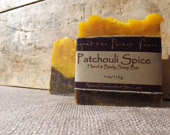 Patchouli Spice Soap Bar  - dark patchouli and allspice - by Beyond the Picket Fence hippie - stong scented hand and body soap