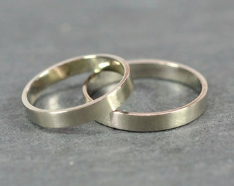Matte Gold Ring Set, Two 3x1mm Flat Edge solid 14K Palladium White Gold Bands, Sea Babe Jewelry