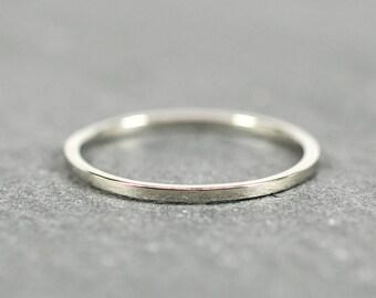 White Gold Wedding Band, Skinny 1mm Ring, Square Edge, Solid 18K Palladium White Gold, Sea Babe Jewelry