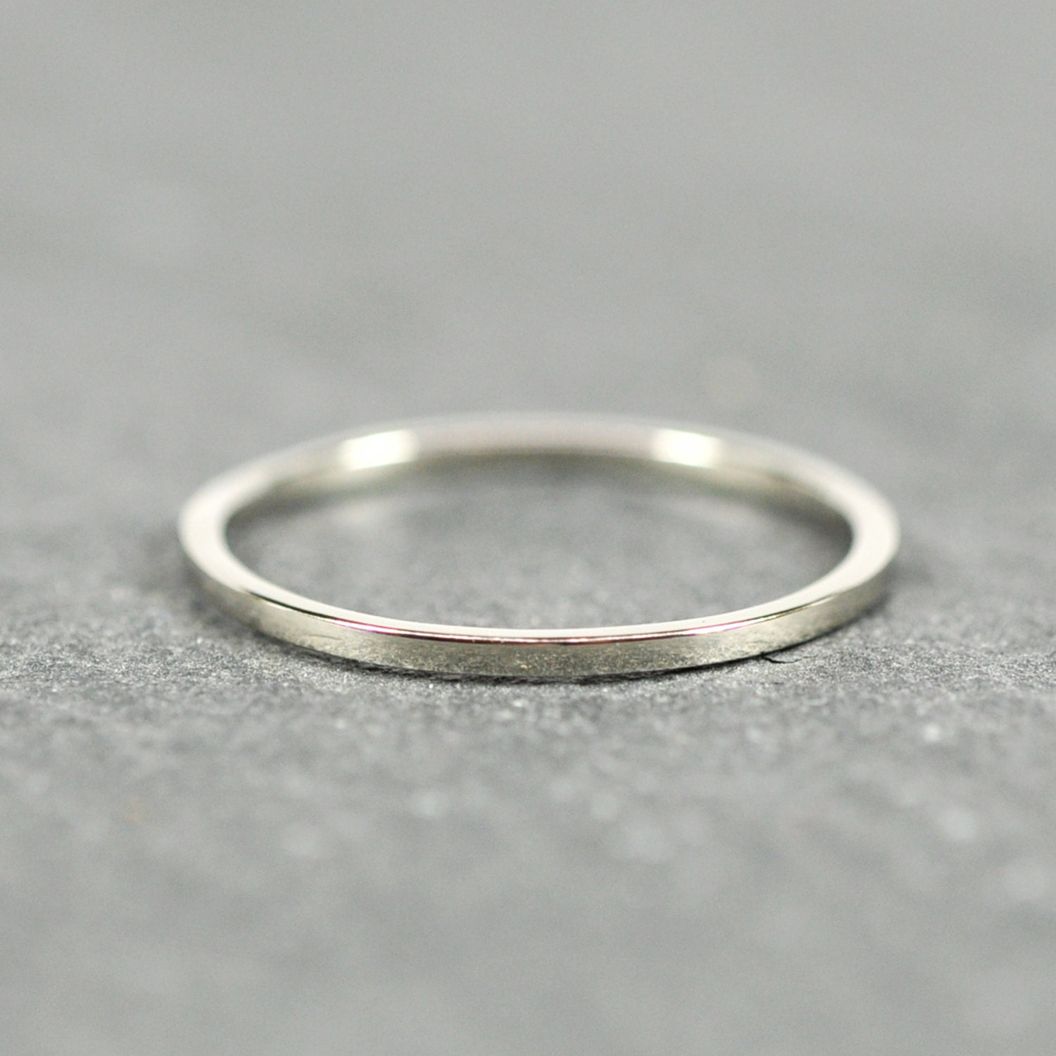 white gold wedding band 1mm ring square edge solid