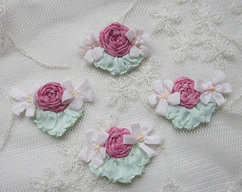 4pc Vintage Chic Rose PINK Silk Ribbon Embroidered Daisy Spider Rose Flower Applique Christening Gown Baby Doll Hair Bow
