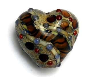 Brown w/Ink Blue Dots Heart Focal Handmade Lampwork Bead - Grace Lampwork Bead 11806405