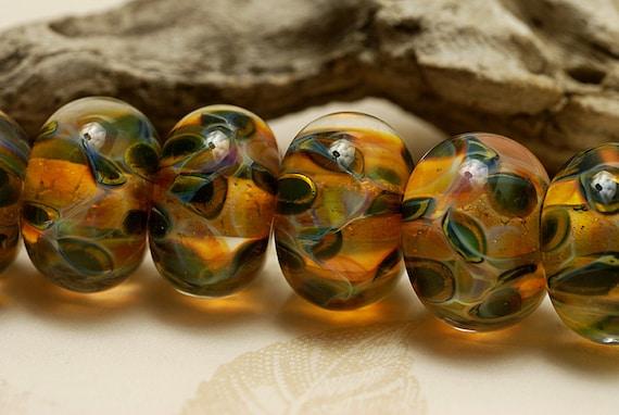 Seven Green & Orange Rondelle Beads - Handmade Glass Lampwork Bead Set 10504701