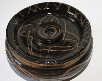 Bowl with Lid in Black and Brown Stoneware Made in Vermont A Green Item