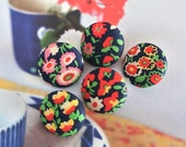 Handmade Country Navy Blue Red Pink Yellow Floral Flower Fabric Covered Buttons, Blue Red Floral Fridge Magnets, Flat Backs, CHOOSE SIZE 5's