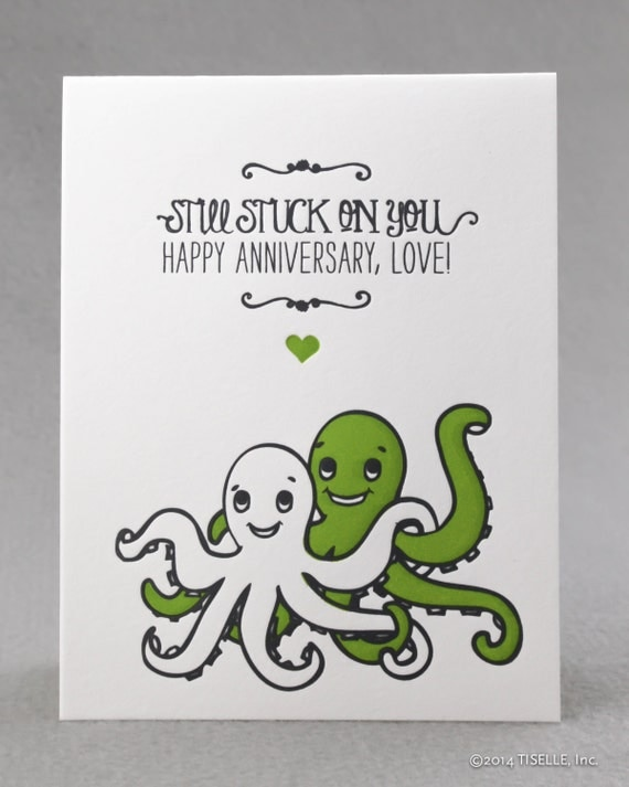 Letterpress Love/ Anniversary Card, Octopus Anniversary