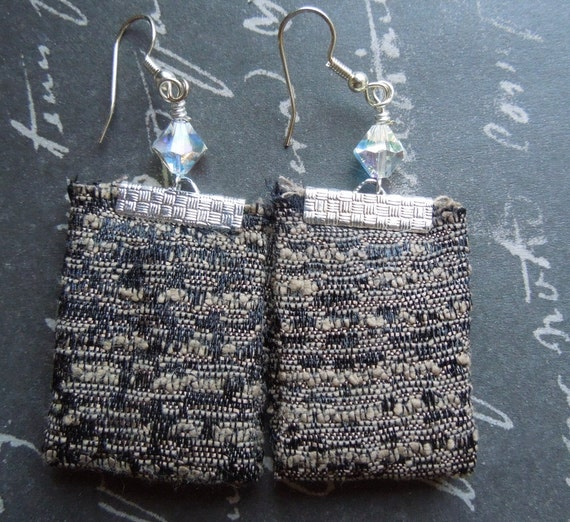 Black and Brown Tweed Bohemian Repurposed Fabric Textile Earrings, with Faceted Clear Crystal Beads