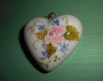 Vintage Shabby Chic looking Heart Shaped Air Freshner Pink Rose on front