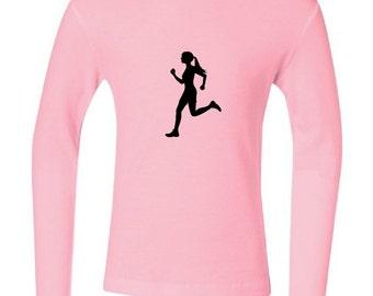SALE - Kid's small pink long-sleeve runner t-shirt