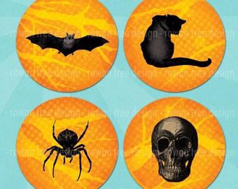 "HALLOWEEN CIRCLES Digital Collage Sheet 2.25"" LARGE Circles Bats Pumpkins Spiders Skulls - no. 0150"