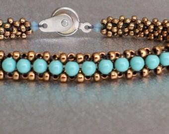 handmade bracelet jade and gold seed bead