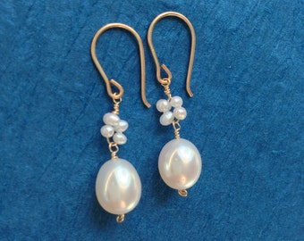 Pearl and clover dangle earrings - jewelry by jackie