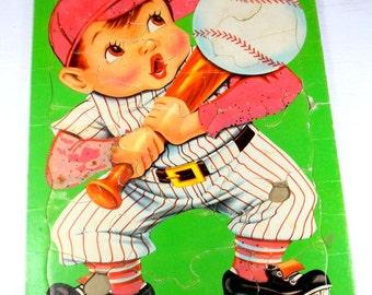 Vintage Children's Tray Puzzle, Lucky Strike, Little Boy Baseball Player  (414-14)
